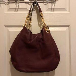 Michael Kors Burgundy Leather Hobo Bag